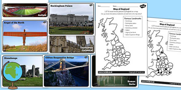 Human Features of England Differentiated Worksheets - geography