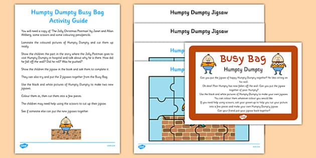 Humpty Dumpty Busy Bag Prompt Card and Resource Pack - Nursery Rhymes, Jigsaw