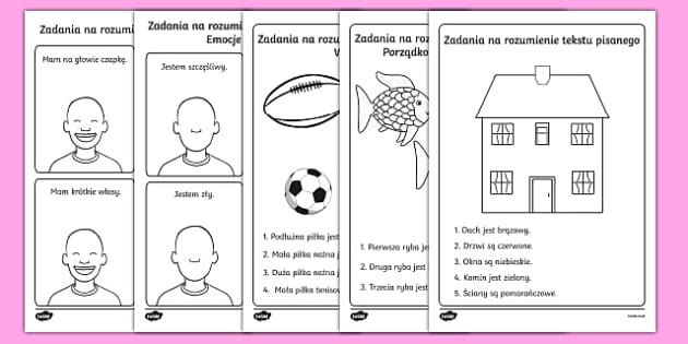 Zestaw kart Rozumienie tekstu pisanego Polish-Polish