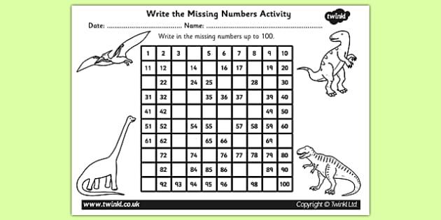Dinosaur Themed Missing Numbers Number Square - dinosaurs, number