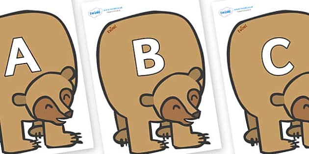 A-Z Alphabet on Brown Bear to Support Teaching on Brown Bear, Brown Bear - A-Z, A4, display, Alphabet frieze, Display letters, Letter posters, A-Z letters, Alphabet flashcards