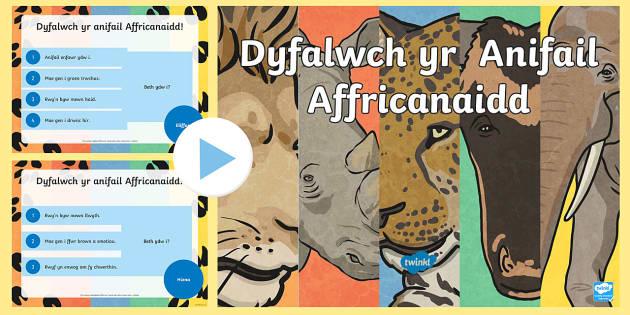 Pŵerbwynt Dyfalwch yr Anifail Affricanaidd - Dysgu Cymraeg fel Ail Iaith, Cymraeg, iaith, Sypreis Affrica, ainifeiliaid Affricanaidd, Handa, gema