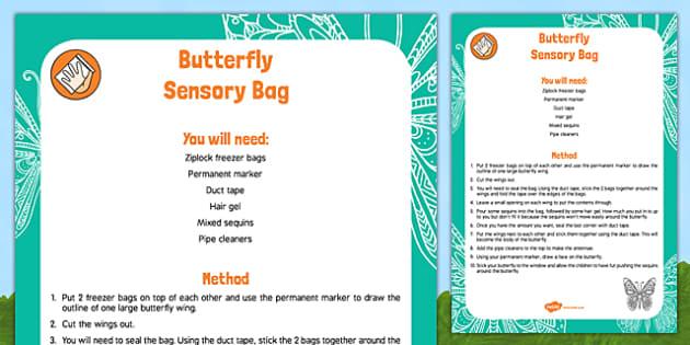 Butterfly Sensory Bag - Butterfly Life Cycle egg caterpillar chrysalis EYFS