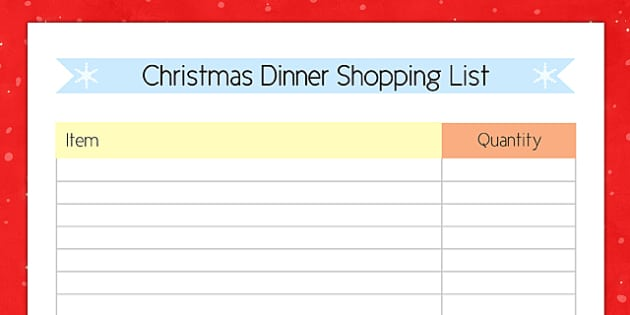 Christmas Dinner Shopping List - christmas dinner, shopping list, shopping, list, christmas, dinner
