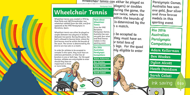 Australia Rio Paralympics 2016 Wheelchair Tennis Display Poster