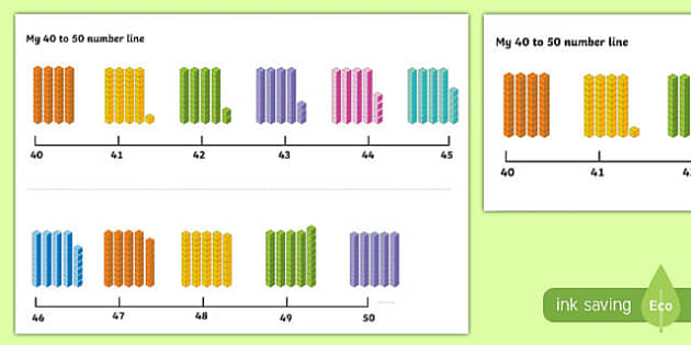 Number Line 40-50 with Dienes - number line, numberline, 40-50, dienes, maths, numeracy, mathematics, numbers