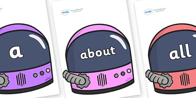 100 High Frequency Words on Astronaut Helmet - High frequency words, hfw, DfES Letters and Sounds, Letters and Sounds, display words