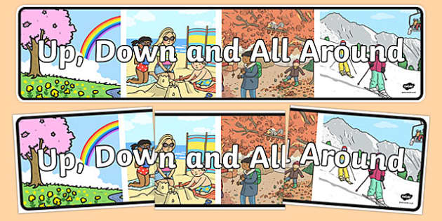 Up, Down and All Around Display Banner - australia, Australian Curriculum, Up, Down and All Around, science, year 1, banner, wall display
