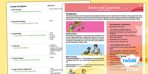 PlanIt - RE Year 1 - Easter and Surprises Unit Planning Overview  - RE, easter, Christianity, relationships, friendship
