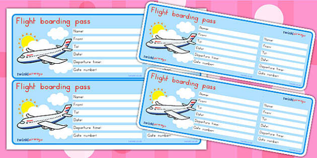 Editable Airline Boarding Pass.doc - boarding, airport, role play