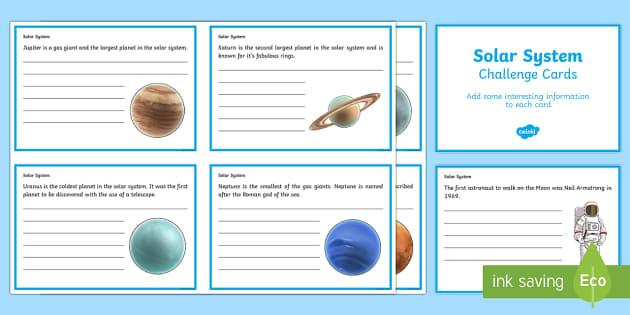 Finish the Solar System Fact Cards - solar system worksheets, planet worksheets, planet fact sheets, solar system fact file, solar system fact sheets, ks2