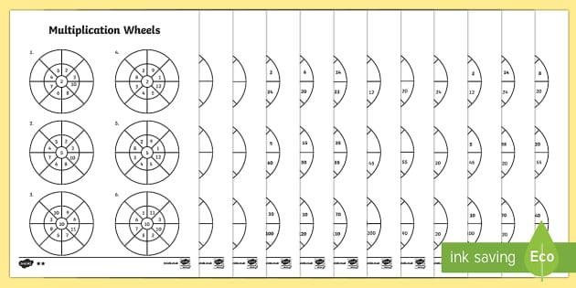 Mixed 2 5 and 10 Times Table Multiplication Wheels Activity – Multiplication Wheels Worksheets