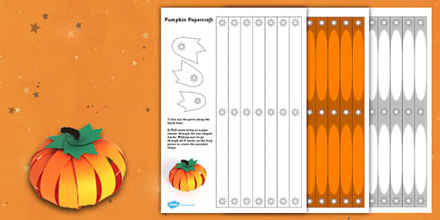 Paper Pumpkin Craft - paper, craft, pumpkin, halloween, craft