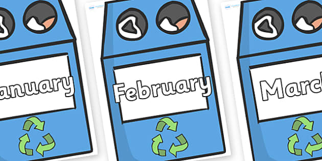 Months of the Year on Eco Bins - Months of the Year, Months poster, Months display, display, poster, frieze, Months, month, January, February, March, April, May, June, July, August, September