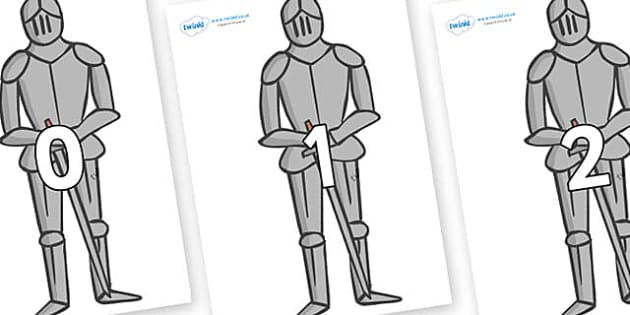 Numbers 0-100 on Suits of Armour - 0-100, foundation stage numeracy, Number recognition, Number flashcards, counting, number frieze, Display numbers, number posters
