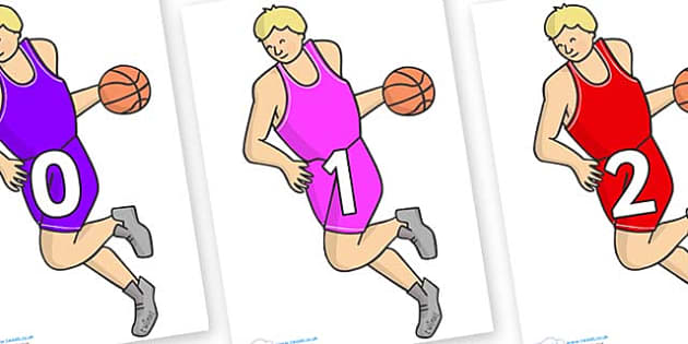 Numbers 0-31 on Basketball Player - 0-31, foundation stage numeracy, Number recognition, Number flashcards, counting, number frieze, Display numbers, number posters