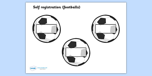 Editable Self Registration Labels (Footballs) - Self registration, register, editable, labels, registration, child name label, printable labels, football, soccer, sport, footballs, world cup