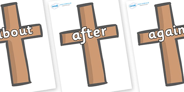 KS1 Keywords on Crosses - KS1, CLL, Communication language and literacy, Display, Key words, high frequency words, foundation stage literacy, DfES Letters and Sounds, Letters and Sounds, spelling