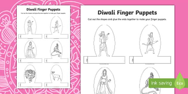 Diwali Story Character Finger Puppets Activity, diwali story for early years
