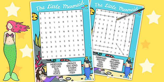 The Little Mermaid Wordsearch - story books, word game, literacy