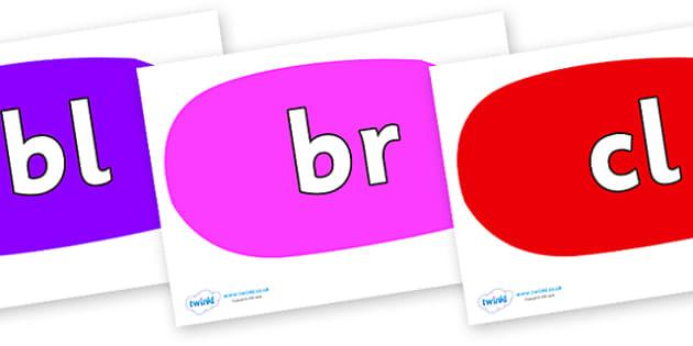 Initial Letter Blends on Speech Bubbles (Multicolour) - Initial Letters, initial letter, letter blend, letter blends, consonant, consonants, digraph, trigraph, literacy, alphabet, letters, foundation stage literacy