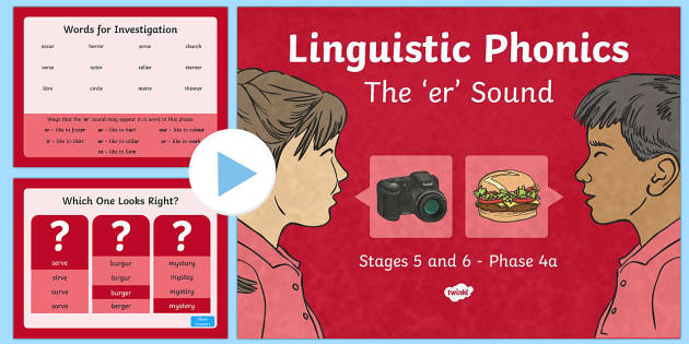 Linguistic Phonics Stage 5 and 6 Phase 4a, 'er' Sound PowerPoint - Linguistic Phonics, Stage 5, Stage 6, Phase 4a, Northern Ireland, 'er' sound, sound search, word