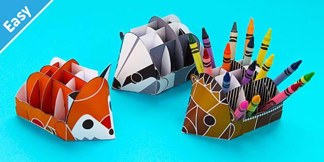 Enkl Woodland Animal Desk Tidies Printable - Enkl, arts, crafts, activity, adult, home, decor, designer, designer, decoration, interior, project, printable, cute, simple, paper, models, 3D, shape, colour, woodland animal, desk tidies