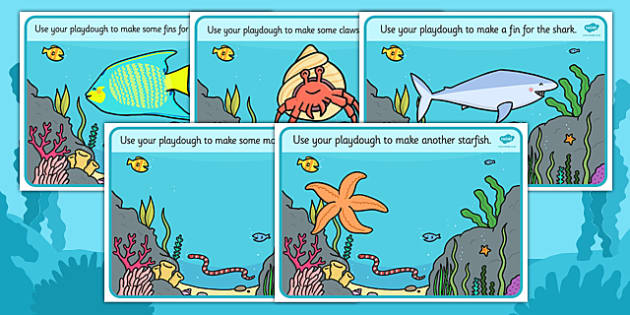 Under the Sea Playdough Mats - Under the Sea, Sea, seaside, Playdough, mat, fish, octopus, sea, seaside, water, tide, fish, sea creatures, shark, whale, marine life, dolphin