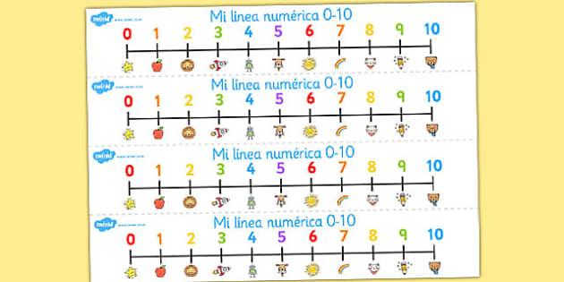 Spanish Number Line 0-10 - spanish, number, line, 0-10, numbers