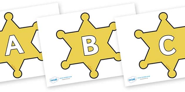 A-Z Alphabet on Sheriffs Badges - A-Z, A4, display, Alphabet frieze, Display letters, Letter posters, A-Z letters, Alphabet flashcards
