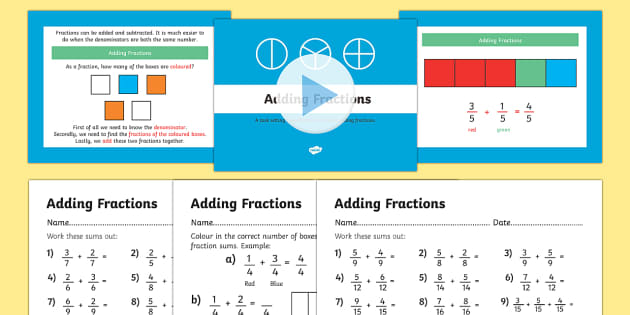 Year 3 Adding Fractions PowerPoint and Worksheets - year 3, year three, fractions, powerpoint, fractions powerpoint, worksheets, fractions worksheets, math