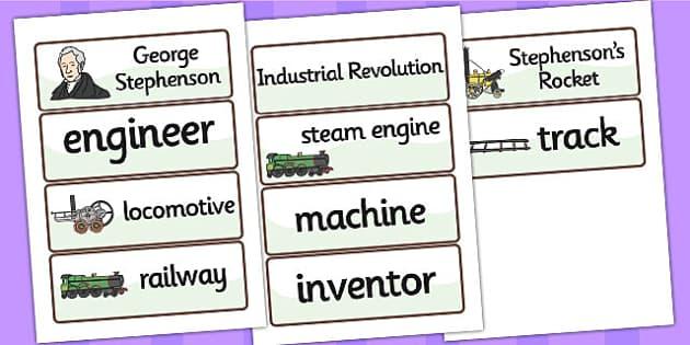 George Stephenson Word Cards - george stephenson, word cards