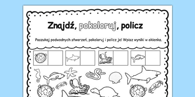 Kolorowanka z liczbami Świat podwodny po polsku - przedszkole , worksheet