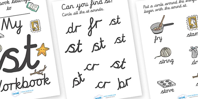 My 'st' Letter Blend Workbook (Cursive) - workbook, st, letters, blend, alphabet, activity, handwriting, blends, letter, letter blends