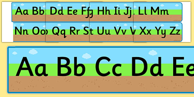 Ground Grass Sky Upper and Lowercase Alphabet Strip - alphabet