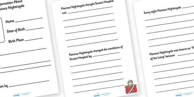 Florence Nightingale Information Writing Booklet - florence nightingale, florence nightingale booklet, florence nightingale information booklet, writing