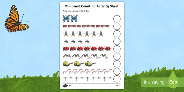 My Counting Worksheet (Minibeasts) - education, home, free, fun