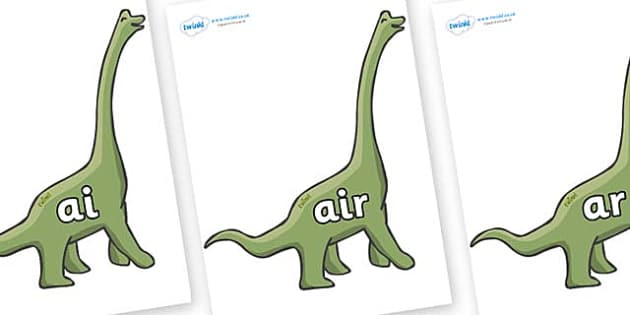 Phase 3 Phonemes on Brachiosaurus - Phonemes, phoneme, Phase 3, Phase three, Foundation, Literacy, Letters and Sounds, DfES, display