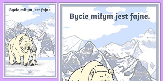 Plakat motywacyjny Bycie miłym jest fajne po polsku