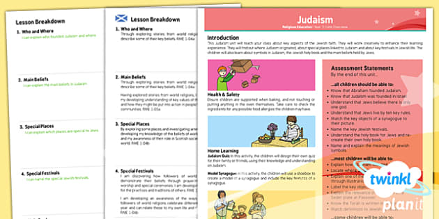 PlanIt - RE Year 3 - Judaism Planning Overview CfE - CfE, Planit, Judaism