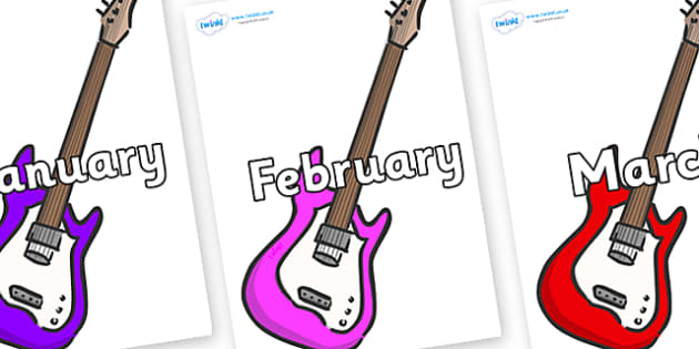 Months of the Year on Guitar - Months of the Year, Months poster, Months display, display, poster, frieze, Months, month, January, February, March, April, May, June, July, August, September