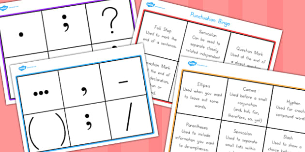 Punctuation Bingo - game, activity, activities, games, grammar
