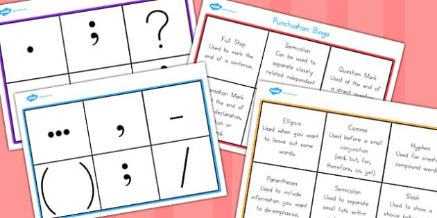 Punctuation Bingo - game, activity, activities, games, punctuate