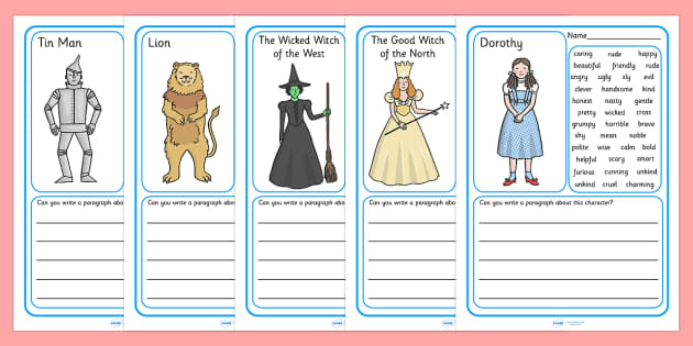 Wizard of Oz Character Description Writing Frames - wizard of oz, character description, writing frames, wizard of oz characters, Characters, story, stories, attributes, features, personality, aid, writing frames, page borders, template, prompts, wor