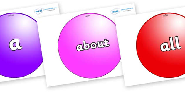 100 High Frequency Words on Spheres - High frequency words, hfw, DfES Letters and Sounds, Letters and Sounds, display words