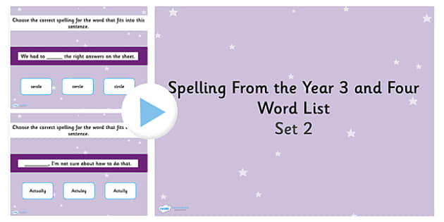 Spelling from the Year 3 and 4 Word List PowerPoint Quiz Set 2