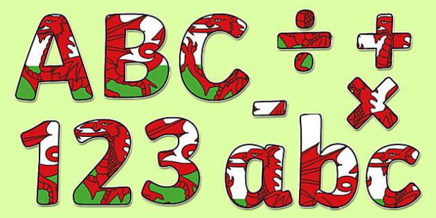 Welsh Flag Display Lettering (Lowercase) - Welsh, Wales, display lettering, display, lettering, lowercase, lower, alphabet