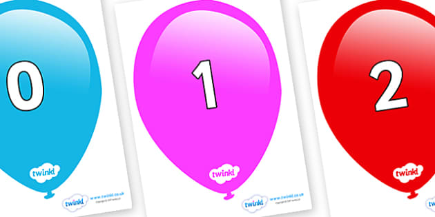 Numbers 0-100 on Balloons - 0-100, foundation stage numeracy, Number recognition, Number flashcards, counting, number frieze, Display numbers, number posters