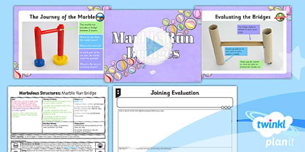 PlanIt - DT UKS2 - Marbulous Structures Lesson 2: Marble Run Bridges Lesson Pack - skills, tools, equipment