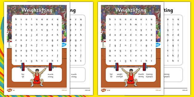 The Olympics Weightlifting Differentiated Word Search - the olympics, rio 2016, 2016 olympics rio olympics, weightlifting, word search